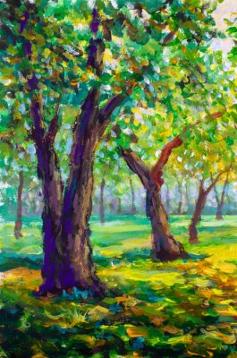 Canvas print Original oil painting, contemporary style. Large big trees oaks in the park forest - sunny green spring landscape