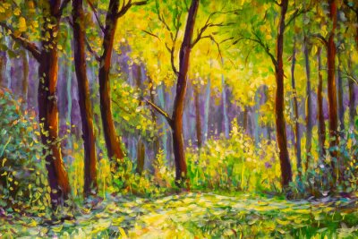 Canvas print Original oil painting, contemporary style, made on stretched canvas Sunny Park forest wood - green trees in the sunlight