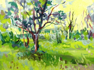Canvas print Original oil painting landscape with tree