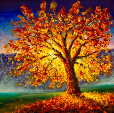 Canvas print Original oil painting on canvas art. Sunny autumn tree. Modern impressionism. Autumn gold yellow orange red tree in sun light landscape expressionism artwork oil acrylic painting