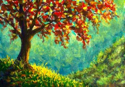 Canvas print Original oil painting on canvas. Autumn tree on sunny mountain side landscape. Modern art.