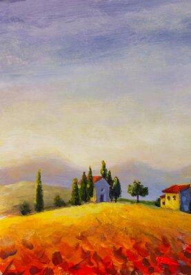 Canvas print Original oil painting on canvas beautiful sunset in Tuscany artwork; Italy landscape Modern art illustration.