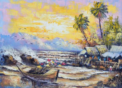 Canvas print Original oil painting on canvas - Old fishing boat in the harbor