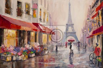 Canvas print Original oil painting on canvas - Paris - Eiffel Tower - A pair of lovers under an umbrella - Modern Art