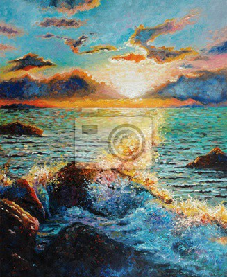 Original oil painting on canvas - Seascape - A sea wave beating against a stone. Counter Light - Impressionism - Modern Art
