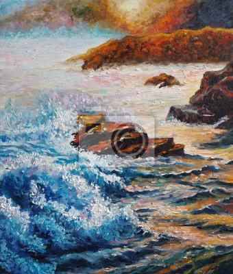 Original oil painting on canvas - Seascape - Sea Counter Light - Impressionism - Modern Art