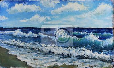 Original oil painting seascape, waves of the sea, blue sky, clouds, on canvas. Impasto artwork. Impressionism art.