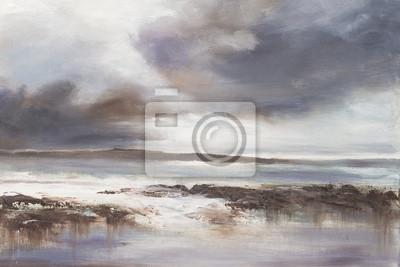 Original oil painting, Stormy Beach Seascape.