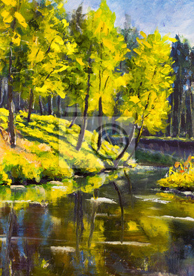 Original oil painting summer Green Pine Trees on shore against the backdrop of blue wood river. Beautiful  landscape. Modern impressionism painting art.