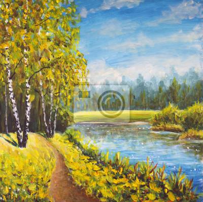 Original oil painting  summer landscape, sunny nature on canvas. Beautiful far forest, rural landscape landscape. Modern impressionism art.