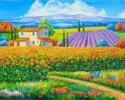 Canvas print Original oil painting Sunflower and lavender fields