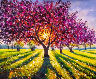 Canvas print Original oil painting sunny landscape on canvas. Beautiful early spring, spring landscape. Modern impressionism painting.