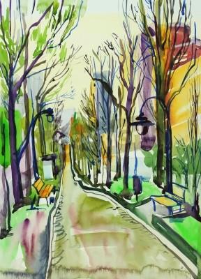 Canvas print original watercolor painting of city park