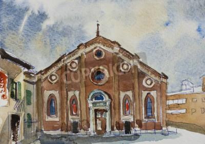 Canvas print Original watercolor painting postcard fasade of Santa Maria delle Grazie in Milan, Italy