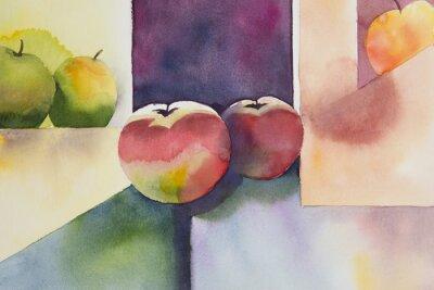 Canvas print Original watercolor, still life, apple design.