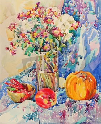 Canvas print original watercolor still life with flowers, pumpkin, apple, drapery and hot pepper, impressionistic painting, vector illustration