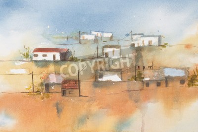 Canvas print Original watercolour, African Village.