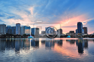Canvas print Orlando sunset over Lake Eola