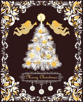 Ornate retro greeting Christmas card with vintage floral vignette for winter holidays with paper cut out Xmas tree with golden cone, candle, balls and paper handmade snowflakes and gold angels