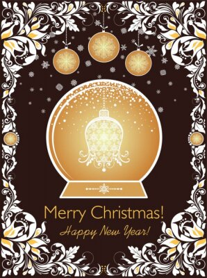 Ornate vintage Christmas greeting card with floral paper cut out border, snowflakes, balls and golden xmas globe with craft hanging bell