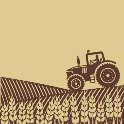 Canvas print oval label with the landscape. tractor in field