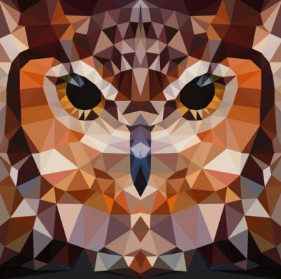 Canvas print Owl head vector background geometric illustration