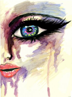 Canvas print Painted Stylized Face