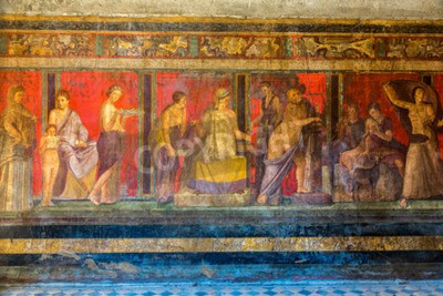Canvas print Painted wall  in Pompeii city  destroyed  in 79BC by the eruption of Mount Vesuvius