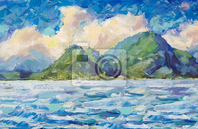 painting beautiful green mountains.  Warm fluffy clouds and blue sky. seascape landscape blue turquoise water lake of ocean river. Oil painting and palette knitting impasto on canvas artwork