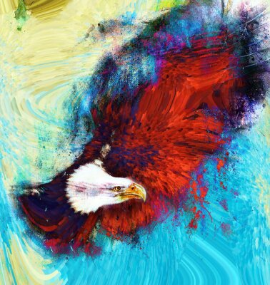 Canvas print painting  eagle on an abstract background, USA Symbols Freedom