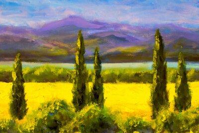 Canvas print Painting Italian tuscany cypresses landscape field mountains bushes horizontally art