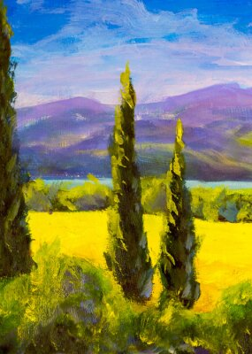 Canvas print Painting Italian tuscany cypresses landscape field mountains bushes vertically