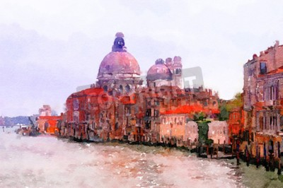 Canvas print Painting of Basilica Santa Maria Della