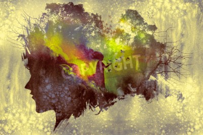 Canvas print painting of double exposure concept with lady portrait silhouette and woman in forest