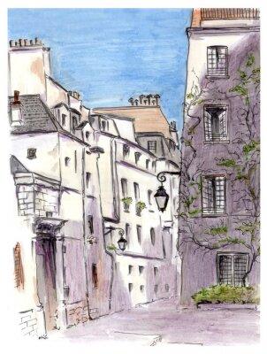 Canvas print Painting of street of european city Paris