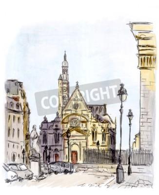 Canvas print Painting of street of european city, Paris, watercolor