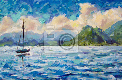 painting seascape landscape Boat, yacht, sailboat in blue turquoise water lake of ocean river against a background of beautiful green mountains. Warm fluffy clouds and blue sky. Oil painting artwork