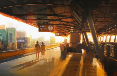 Canvas print painting showing couple waiting a train on the station
