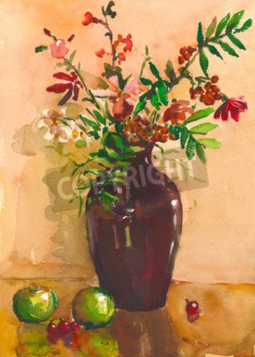 Canvas print Painting. Still life with vase, flowers, fruit, rowan . It can be used to create packages, gift cards and design
