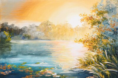 Canvas print painting - sunset on the lake