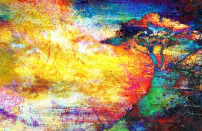 Canvas print Painting sunset, sea and tree, wallpaper landscape, color collage