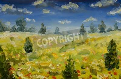 Painting Yellow flower field with red white flowers, green trees, blue sky and warm clouds. Summer landscape oil painting. Nature palette knife, impasto impressionism oil on canvas.