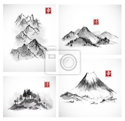 Paintings of mountains hand drawn with ink. Traditional oriental ink painting sumi-e, u-sin, go-hua. Contains hieroglyphs - happiness, clarity