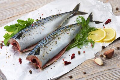 Canvas print pair mackerels with spices on the foil for baking
