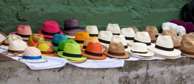 Canvas print Panama hats set out for sale at an open air market in Bogota Col