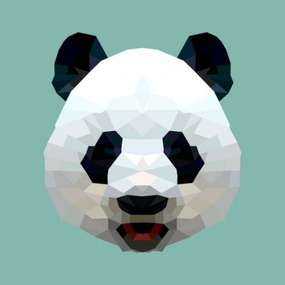 Canvas print panda head polygon isolated vector