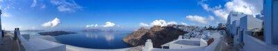 Canvas print Panorama à Fira à Santorin, les Cyclades en Grèce