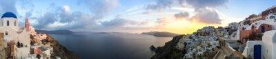 Canvas print Panorama à Oia à Santorin, les Cyclades en Grèce