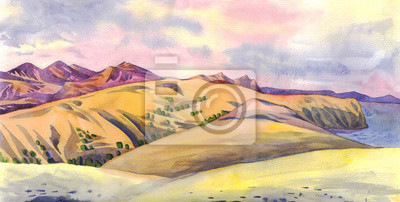 Canvas print Panorama of mountains. Watercolor painting