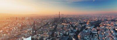Canvas print Panorama of Paris at sunset